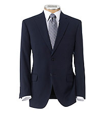 Executive 2-Button Wool Suit with Plain Front Trousers - Bright Navy