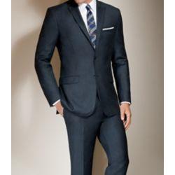 Jos. A. Bank Mens Joseph Slim Fit 2-Button Wool/Cashmere Plain Front Suit (Grey)