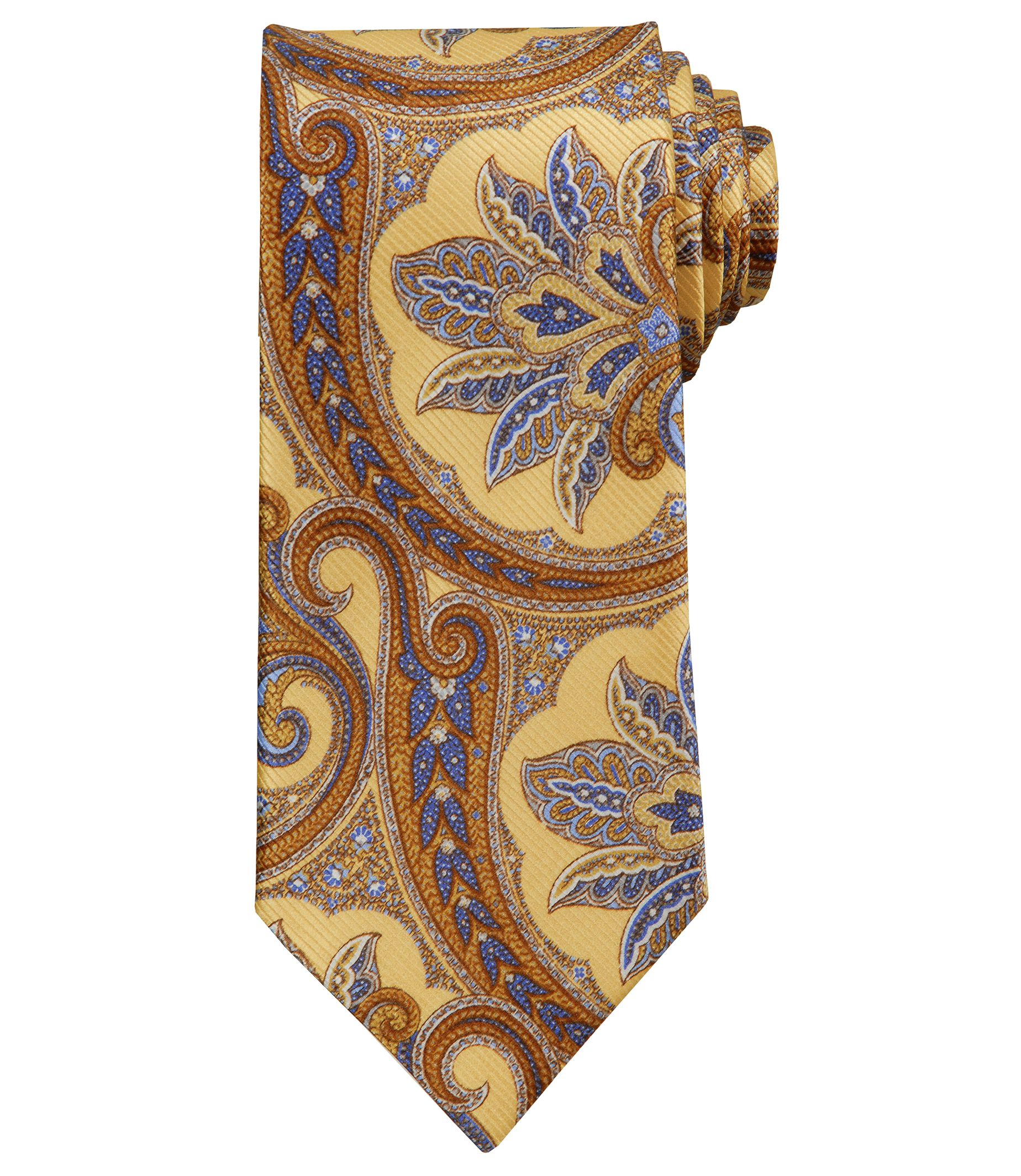 Signature Gold Extra Large Paisley Print Tie