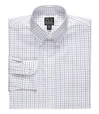 Traveler Tailored Fit Button Down Collar Ground and Check Dress Shirt