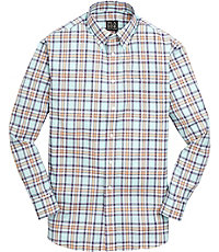 Travelers Big and Tall Patterned Button Down Long Sleeve Sportshirt