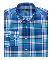 Traveler Big and Tall Patterned Button Down Long Sleeve Sportshirt