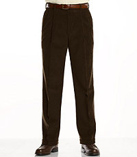 Colorfast Casual Corduroy Pleated Front Pants Extended Sizes