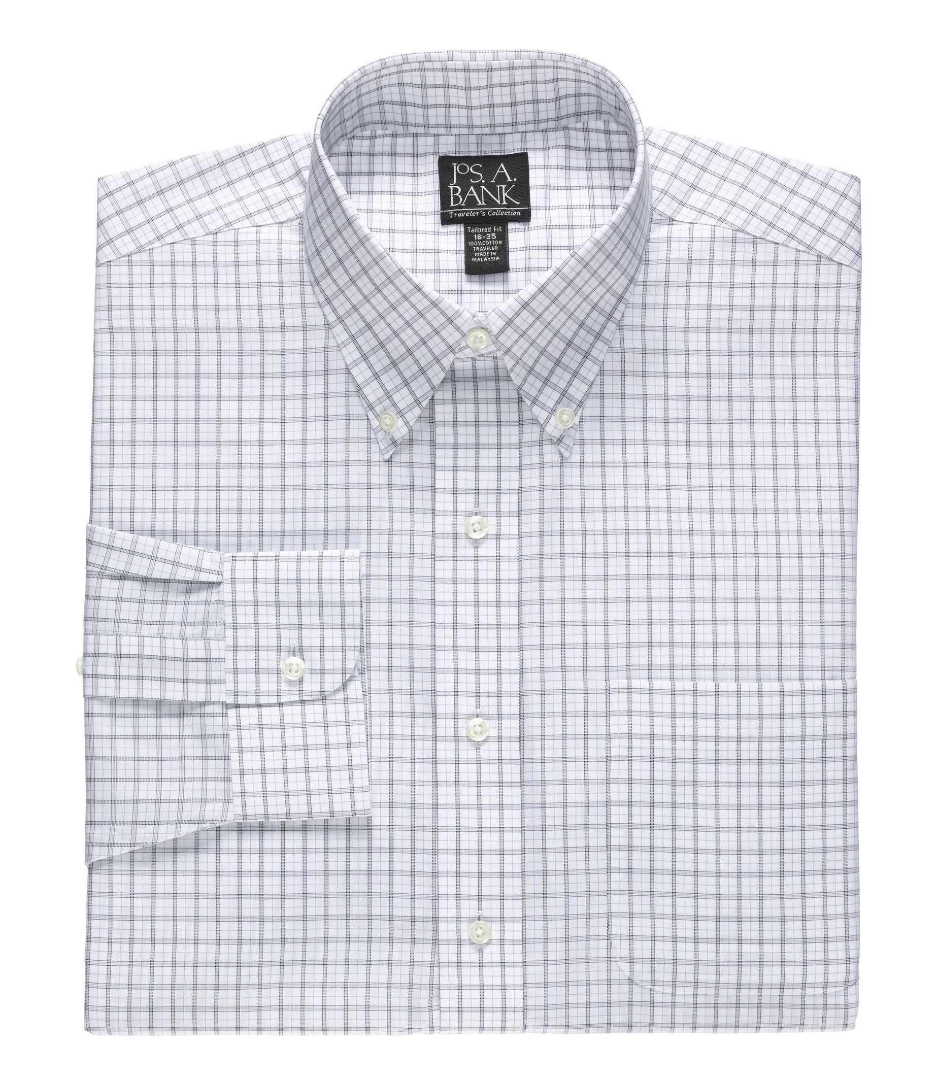 Traveler Tailored Fit Button Down Collar Patterned Dress Shirt