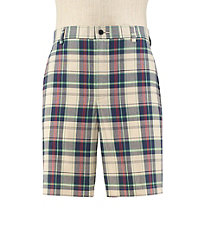 Stays Cool Tailored Fit Plain Front Plaid Shorts