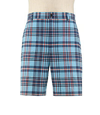 Stays Cool Tailored Fit Plain Front Plaid Shorts Extended Sizes