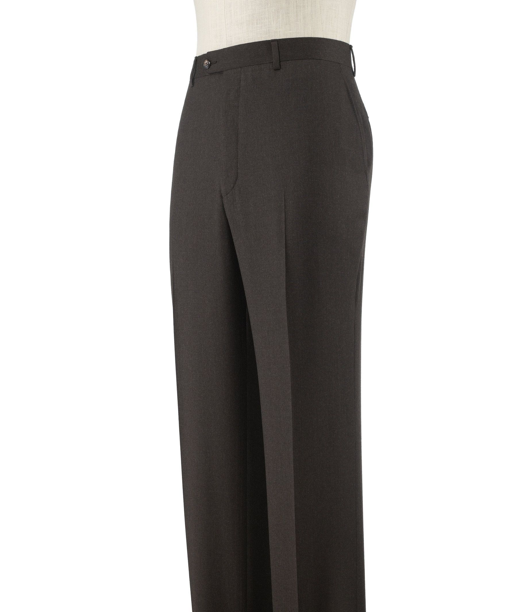 Executive Tailored Fit Plain Front Wool/Cashmere Trousers Extended Sizes