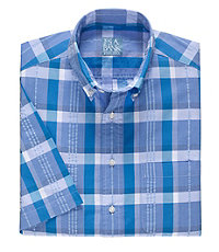 Stays Cool Short Sleeve Bold Seersucker Plaid Sportshirt