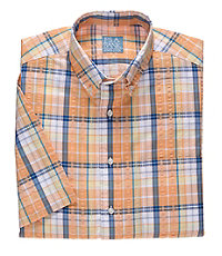 Stays Cool Short Sleeve Large Seersucker Plaid Sportshirt