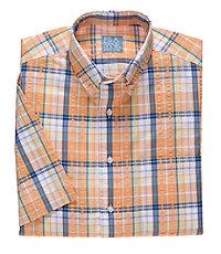 Stays Cool Short Sleeve Large Seersucker Plaid Sportshirt