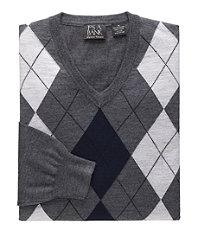 Signature Merino Wool Arygle V-Neck Sweater