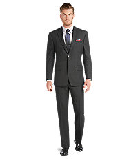 Executive 2-Button Tailored Fit Wool Suit With Plain Front Trousers