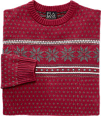 1960s Men's Sweaters Executive Collection Cotton Crewneck Mens Sweater - Small Red $39.99 AT vintagedancer.com