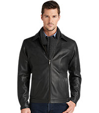 Jos. A. Bank Mens Signature Leather Bomber Jacket