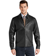 Jos A Bank Signature Collection Traditional Fit Leather Jacket (Black)