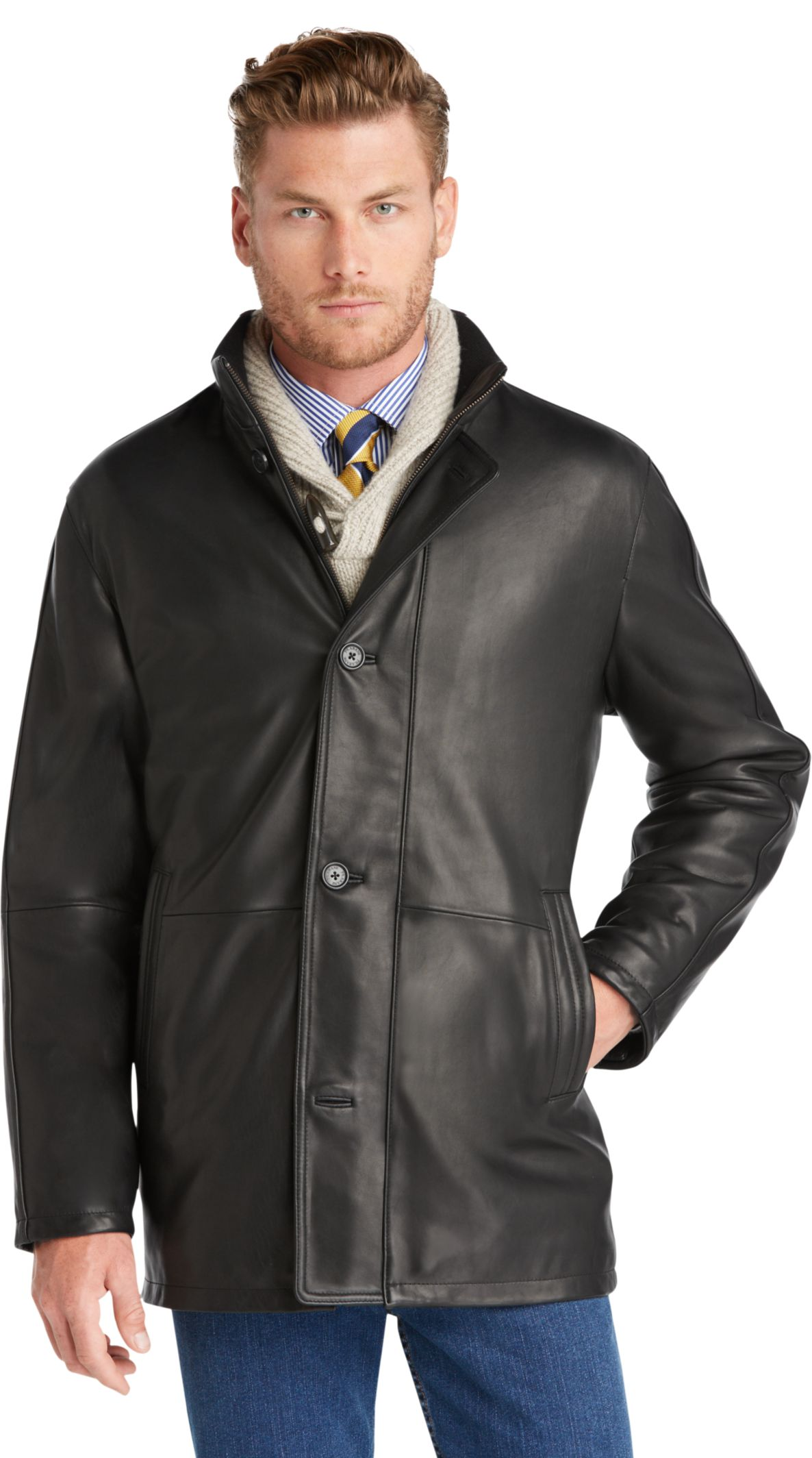 Signature Collection Traditional Fit 3/4 Length Leather Car Coat ...