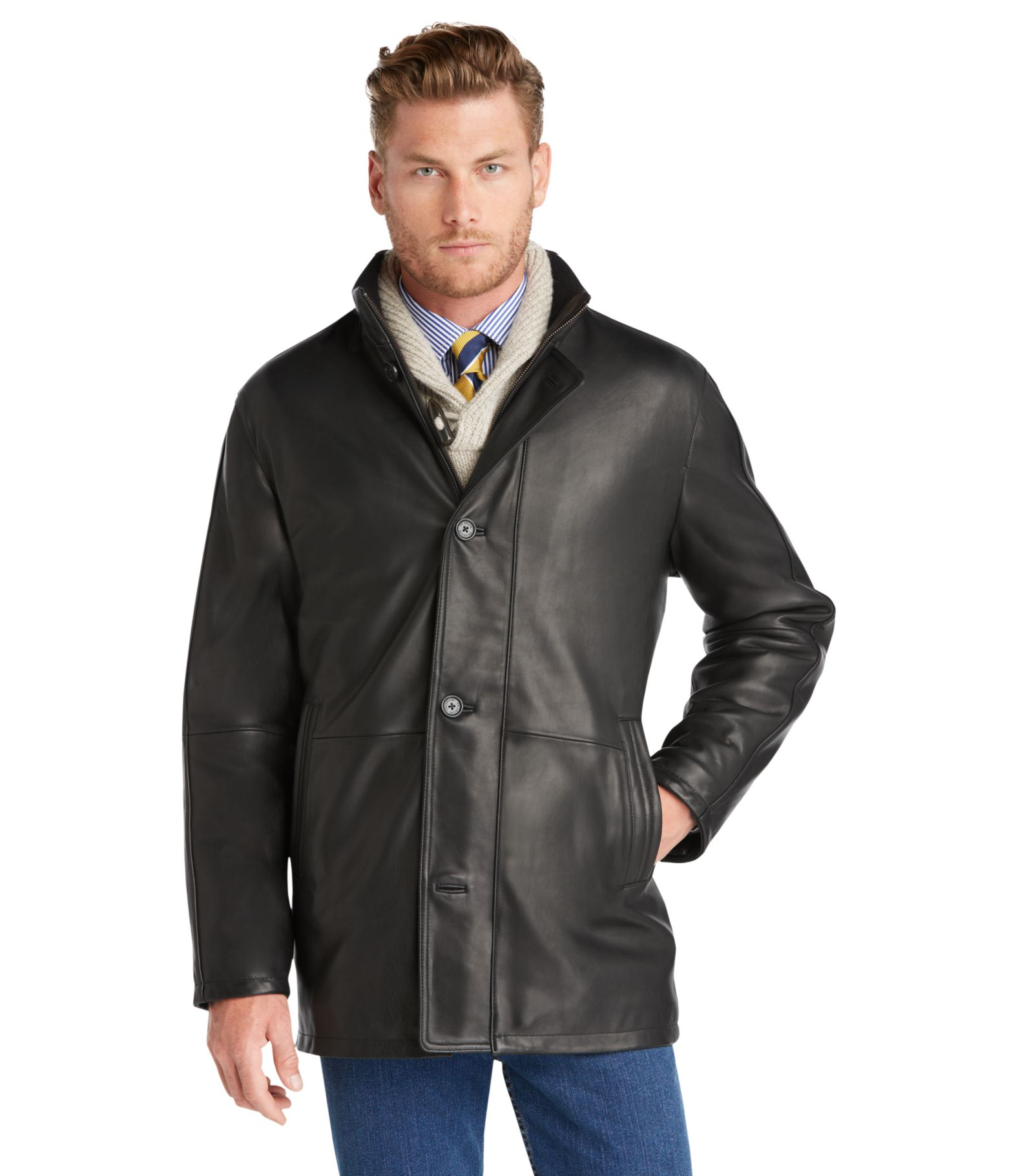 Signature Traditional Fit 3/4 Length Leather Car Coat - | Jos A Bank