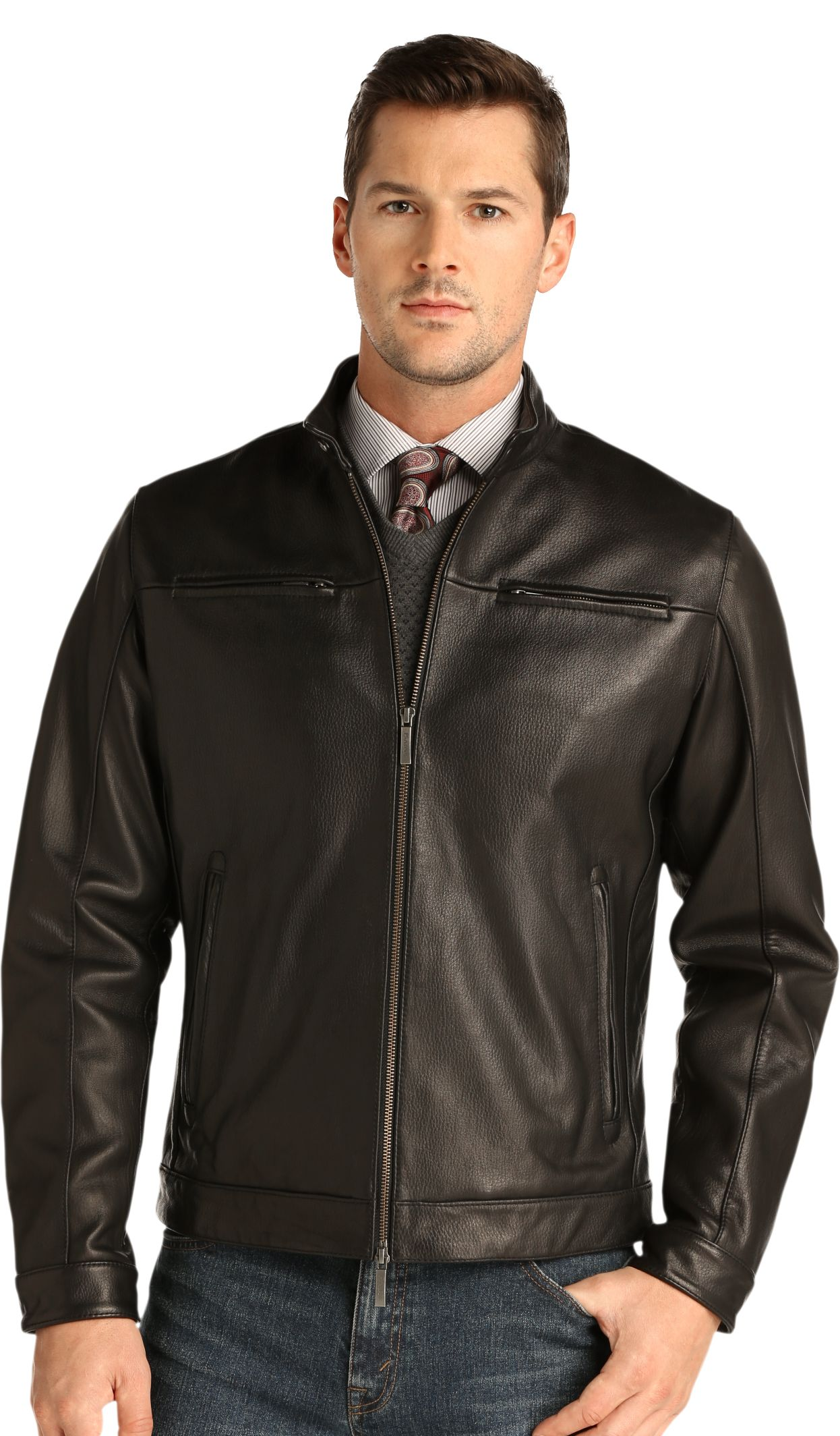 Signature Collection Traditional Fit Leather Jacket - | Jos A Bank