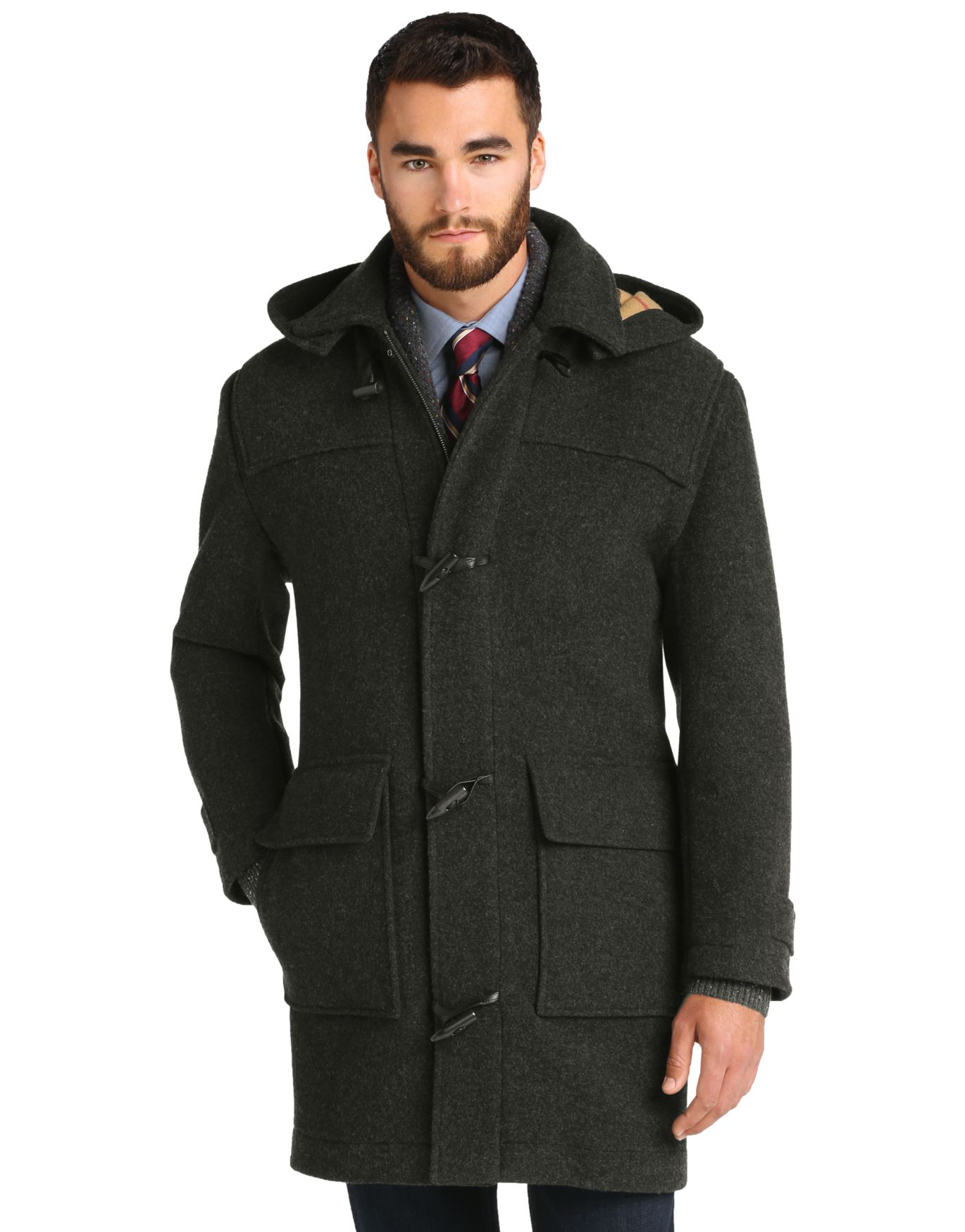 Executive Collection Traditional Fit 3/4 Length Duffle Coat ...