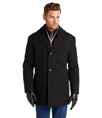 Jos. A. Bank Men's Executive Collection Traditional Fit Storm Collar Car Coat (Black or Brown)