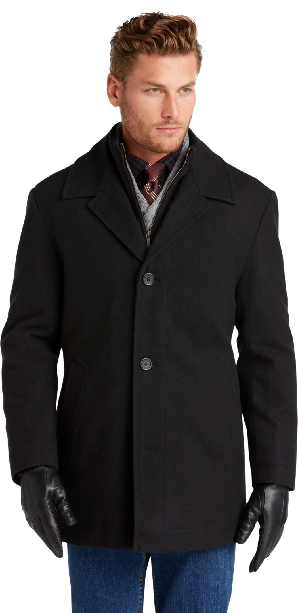 Executive Collection Traditional Fit Storm Collar Car Coat ...