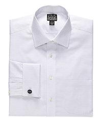 Signature Spread Collar French Cuff Dobby Cross Stripe Dress Shirt