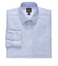 Traveler Slim Fit Spread Collar Stripe Dress Shirt Big and Tall Sizes