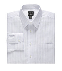 Traveler Tailored Fit Point Collar Wide Stripe Dress Shirt Big and Tall