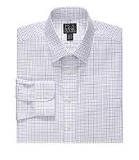 Traveler Slim Fit Spread Collar Grid Dress Shirt Big and Tall Sizes