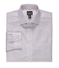 Traveler Tailored Fit Spread Collar Check Dress Shirt Big and Tall