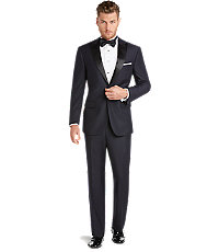 Peak Lapel Tuxedo with Plain Front Trousers by JoS. A. Bank - 38 Regular Navy $698.00 AT vintagedancer.com