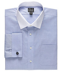 Men's Vintage Style Shirts Traveler White Spread Collar Self French Cuff Traditional Fit Dress Shirt BigTall by JoS. A. Bank Mens Dress Shirts - Misc Blue $99.50 AT vintagedancer.com
