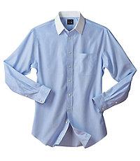Traveler Tailored Fit Point Collar Dress Shirt Big and Tall by JoS. A. Bank Mens Dress Shirts - 16 12X36 Blue $89.50 AT vintagedancer.com