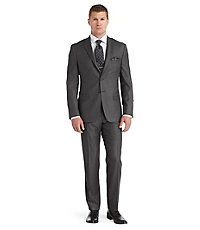 Joseph Abboud 2 Button Wool Tailored Fit Suit with Plain Front Pant Big and Tall
