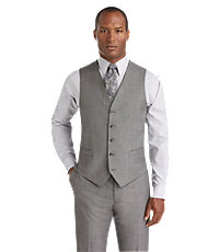 Joseph Abboud Tailored Fit Grey Sharkskin Suit Separate Vest Big and Tall