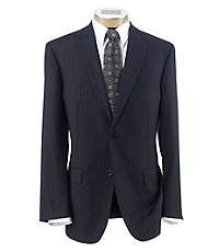 Signature Gold 2-Button Wool Plain Front Tailored Fit Suit Big and Tall