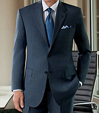 Signature 2-Button Wool Suit with Plain Front Trousers Big/Tall
