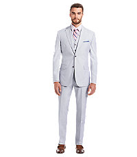 Executive Collection Tailored Fit Tropical Blend Mens Suit by JoS. A. Bank - 36 Regular Light Blue $498.00 AT vintagedancer.com