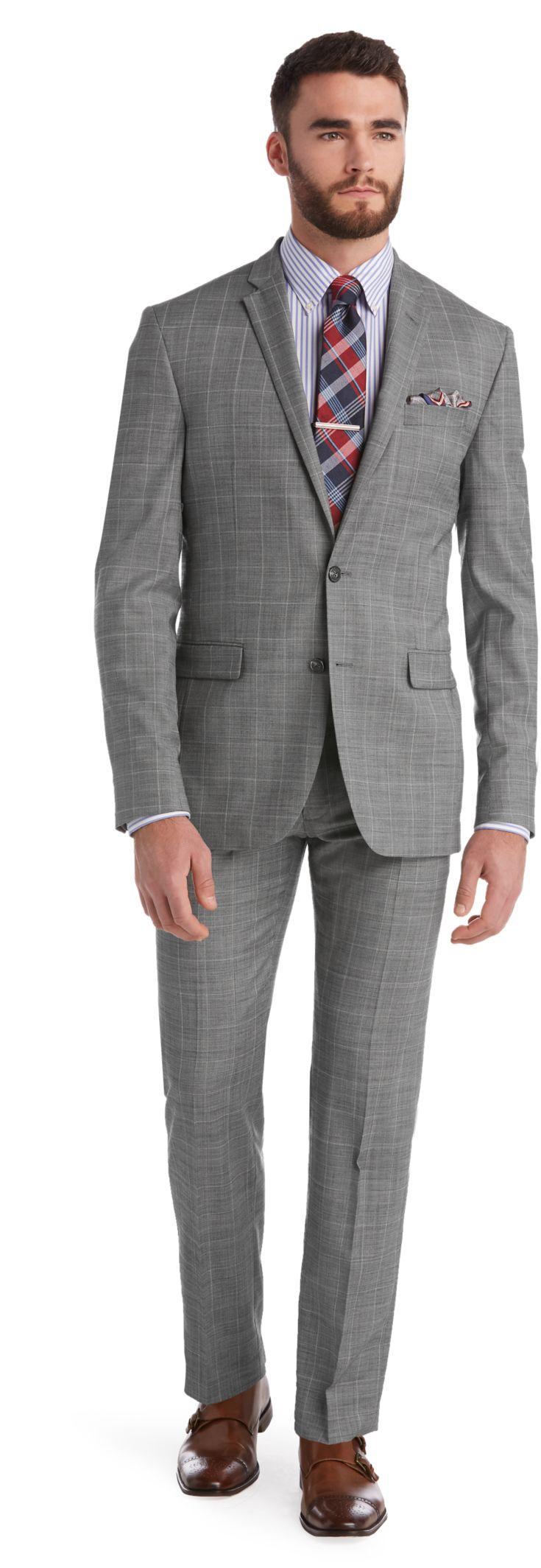1905 Collection Slim Fit Plaid Sharkskin Suit - 1905 Suits   Jos A ...
