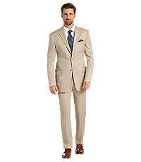 Men's Vintage Style Suits, Classic Suits Reserve Collection Tailored Fit Solid Pattern Mens Suit - Big  Tall by JoS. A. Bank - 54 Long Tan $529.00 AT vintagedancer.com