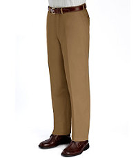 Wrinkle-Resistant Cotton Twill Plain Front Pants
