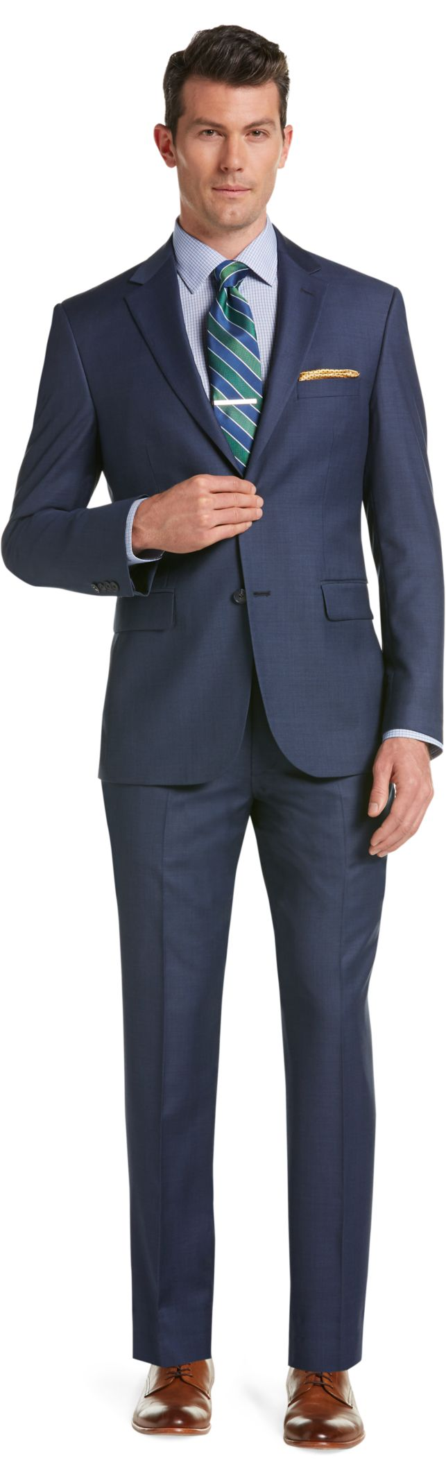 Traveler Collection Tailored Fit Sharkskin Suit - Traveler Suits ...