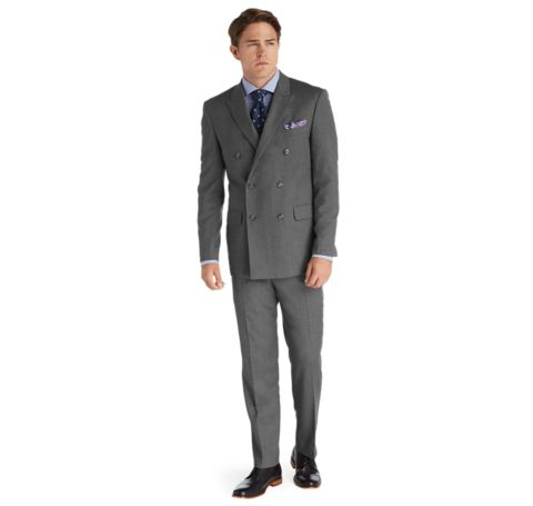 1905 Tailored Fit Double Breasted Wool Suit with Plain Front ...