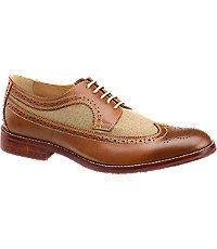 1940s Style Mens Shoes Johnston  Murphy Garner LinenLeather Wingtip Mens Shoes - 11.5 D Width Tan $155.00 AT vintagedancer.com