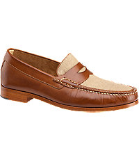 1940s Style Mens Shoes Johnston  Murphy Danbury LinenLeather Penny Moccasin Mens Shoes - 12 D Width Tan $165.00 AT vintagedancer.com