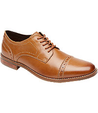 1920s Style Mens Shoes Style Purpose Cap-Toe Oxfords by Rockport Mens Shoes - 8.5 D Width Tan $125.00 AT vintagedancer.com