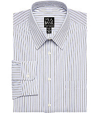 Classic Collection Tailored Fit Blue  Grey Stripe Dress Shirt $49.99 AT vintagedancer.com