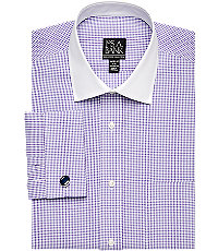 Executive Tailored Fit Purple  White Check Shirt Big and Tall by JoS. A. Bank Mens Dress Shirts - 17 12X36 PurpleWhite $69.50 AT vintagedancer.com