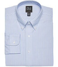 Traveler Collection Tailored Fit Button-Down Collar White and Blue Pinstripe Dress Shirt