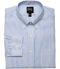 Men's Vintage Style Suits, Classic Suits Traveler Collection Tailored Fit Button-Down Collar Stripe Dress Shirt - Big  Tall $89.50 AT vintagedancer.com